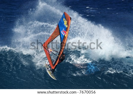 Professional big wave windsurfing in Maui Hawaii