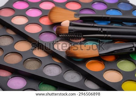 Professional blush palette and cosmetics brushes