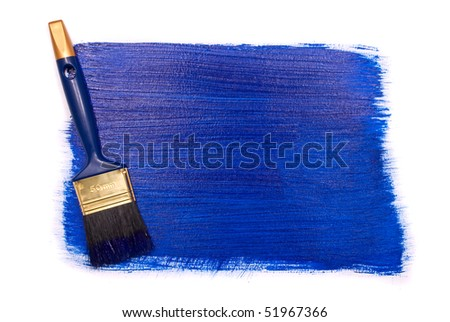 Professional brush with blue paint on a white background - stock photo