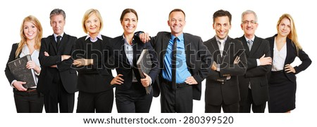 Professional business lawyer team standing together as a group - stock photo