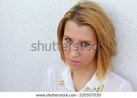 Professional Business Outside Natural Pose Upset Blonde Teenager Teen College Student  - stock photo