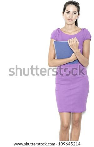 Professional business woman holding blue folders in a purple smart dress - stock photo