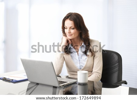 Professional businesswoman working on laptop in her office.