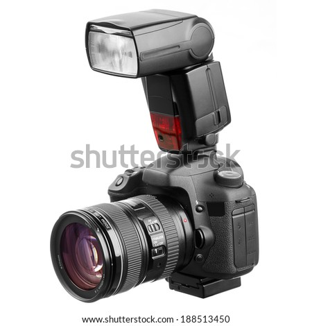 Professional camera with flash