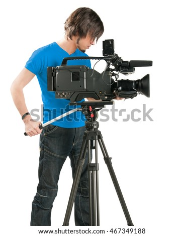 Professional cameraman, isolated on white background.