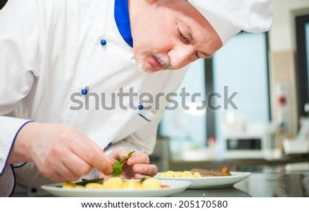 Professional chef garnishing a dish - stock photo