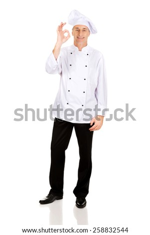 Professional chef in white hat with perfect sign - stock photo