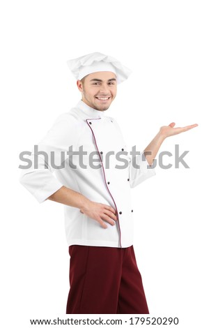 Professional chef in white uniform and hat, isolated on white - stock photo