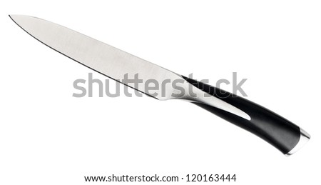 Professional chef knife isolated on white. Clipping path included. - stock photo