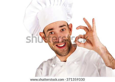 Professional chef man. Isolated over white background. Showing perfect sign. - stock photo