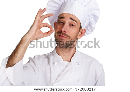 Professional chef man. Isolated over white background. Showing perfect sign.