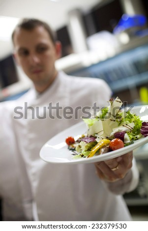 professional chef -prepared food on plates in commercial kitchen - stock photo