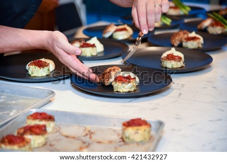 Professional chef preparing a gourmet meal as part of a catering operation.
