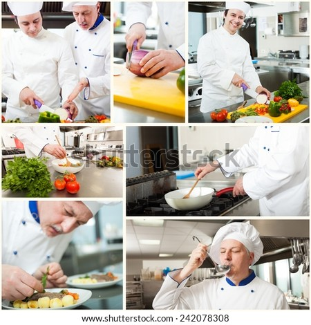 Professional chefs at work in a kitchen - stock photo