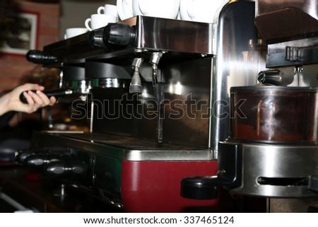 Professional coffee machine, close up - stock photo