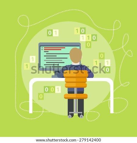 Professional concept with male computer programmer sitting in a chair in front of computer at table and programming on computer on his workplace Raster version - stock photo