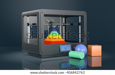 professional 3d printer on dark background, with coloured objects (3d render)