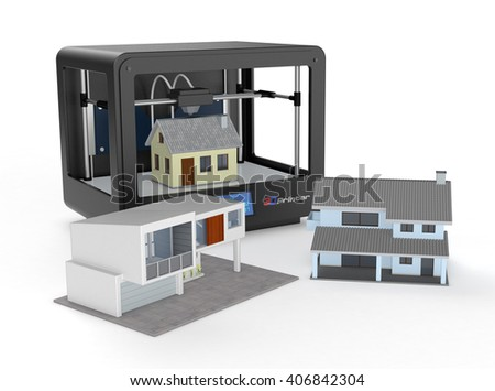 professional 3d printer that builds a house, and two other houses already built (3d render)