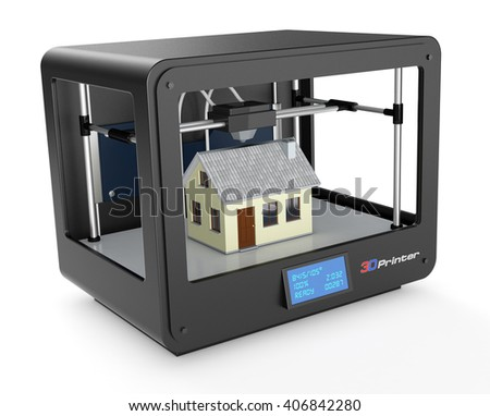 professional 3d printer that builds a house, white background (3d render) - stock photo