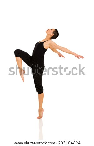 professional dancer dancing on white background - stock photo