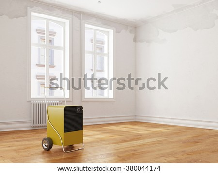 Professional dehumidifier after water damage standing in a room (3D Rendering) - stock photo