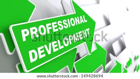"Professional Development - Business Concept. Green Arrow with ""Webinar"" slogan on a grey background. 3D Render. - stock photo"