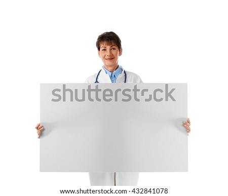 Professional doctor with banner, isolated on white