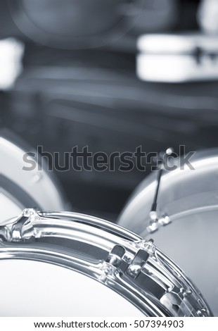 Professional drums kit in music store display on sale.