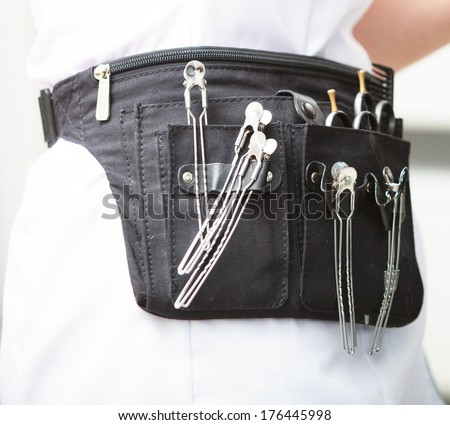 Professional equipment tools accessories of hairdresser hairstylist. In hair beauty salon. - stock photo