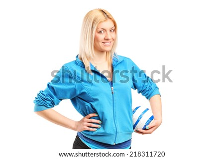 Professional female handball player isolated on white background - stock photo