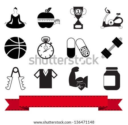 Professional fitness icons for your website. Vector version also available in my portfolio. - stock photo