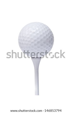 Professional golf ball on  tee, against white background  - stock photo