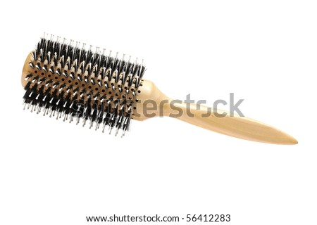 Professional hairdresser round hairbrush isolated on a white background. Series: professional hairdressing equipment and tools - stock photo