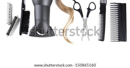 Professional hairdresser tools, isolated on white - stock photo