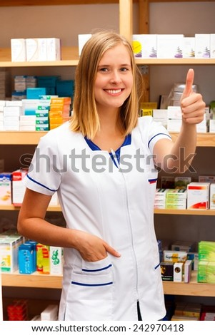 Professional health care worker showing the sign of her satisfaction.