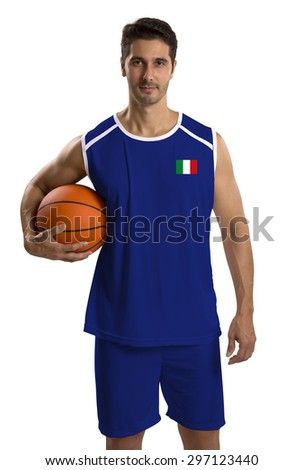 Professional italian basketball player with ball. Isolated on white