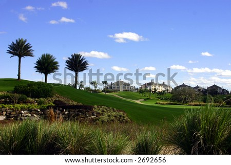 professional landscaping at a golf resort