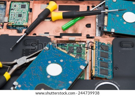 Professional laptop repair - stock photo