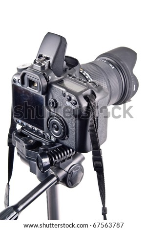 Professional Level DSLR Camera on Tripod - stock photo