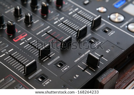 Professional line mixer with cross fader and selective focus