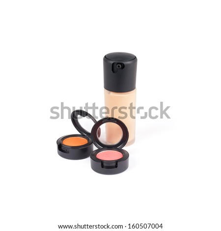 Professional lipgloss and foundation in tubes, isolated on white