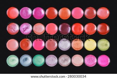 professional lipstick palette the makeup background - stock photo