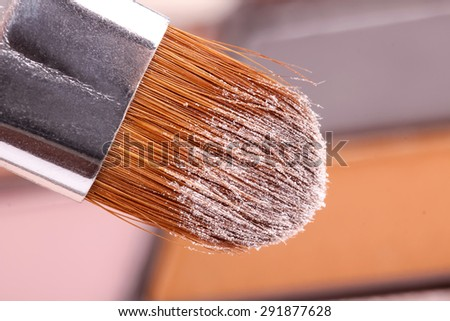 Professional make-up brush, closeup - stock photo