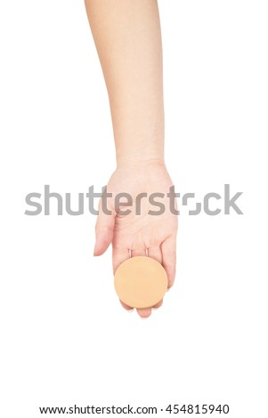 Professional make-up brush cosmetic, in female hand beautician isolated on, white background, - stock photo