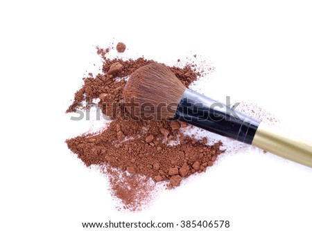 Professional make-up brush on  brown crushed eyeshadow - stock photo