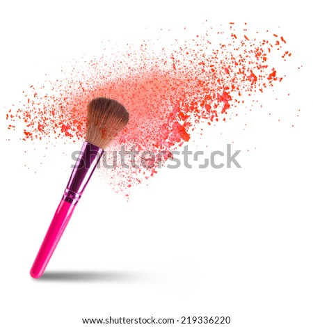 professional make-up brush with dust in motion. - stock photo