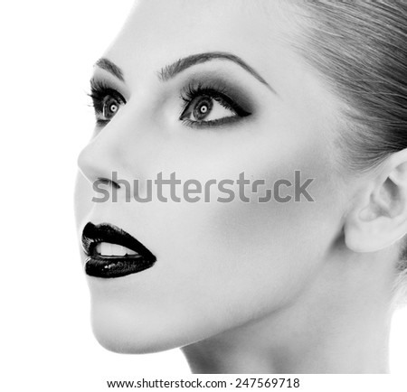 Professional Make up concept. Portrait of young beautiful woman with beauty makeup and perfect skin. Isolated on white background