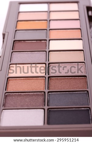 Professional make-up eyeshadows set, closeup - stock photo