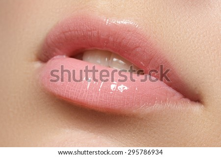 Professional make-up. Lipgloss. Lipstick  - stock photo