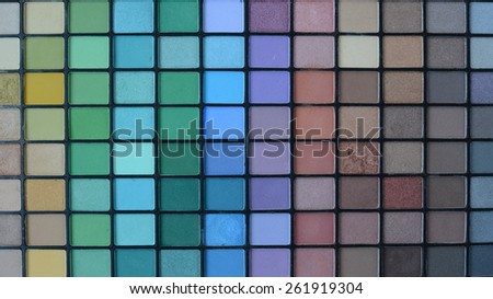 professional make-up pallette of shadows - stock photo